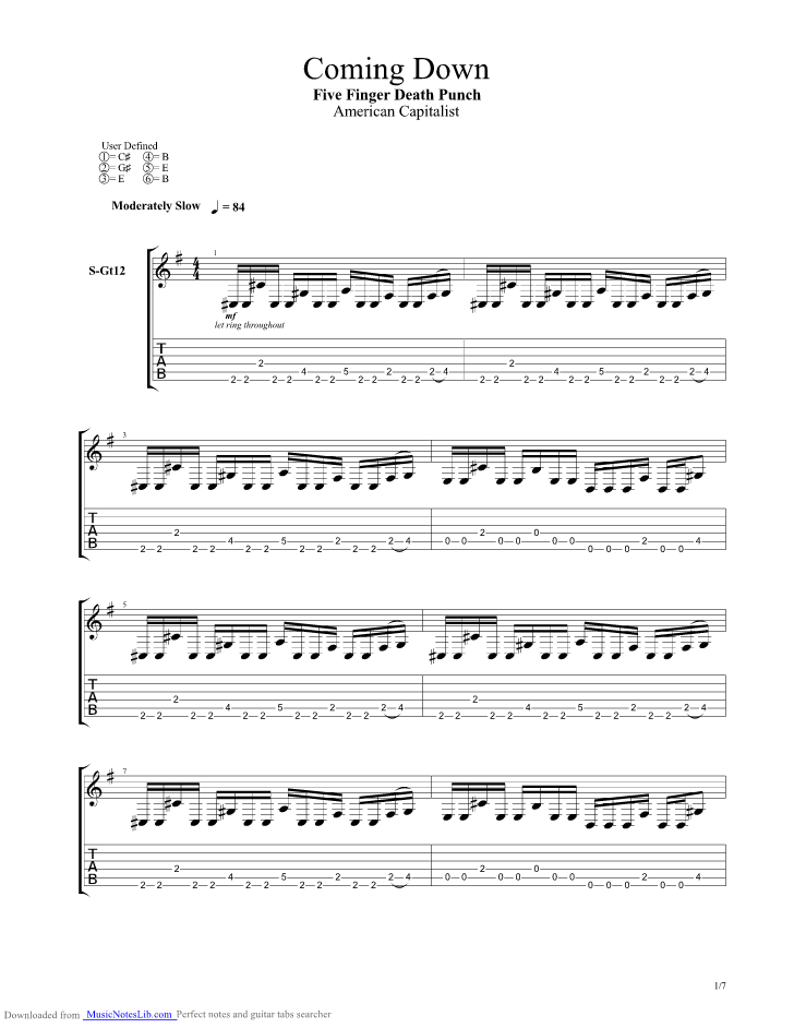 Coming Down guitar pro tab by Five Finger Death Punch ...