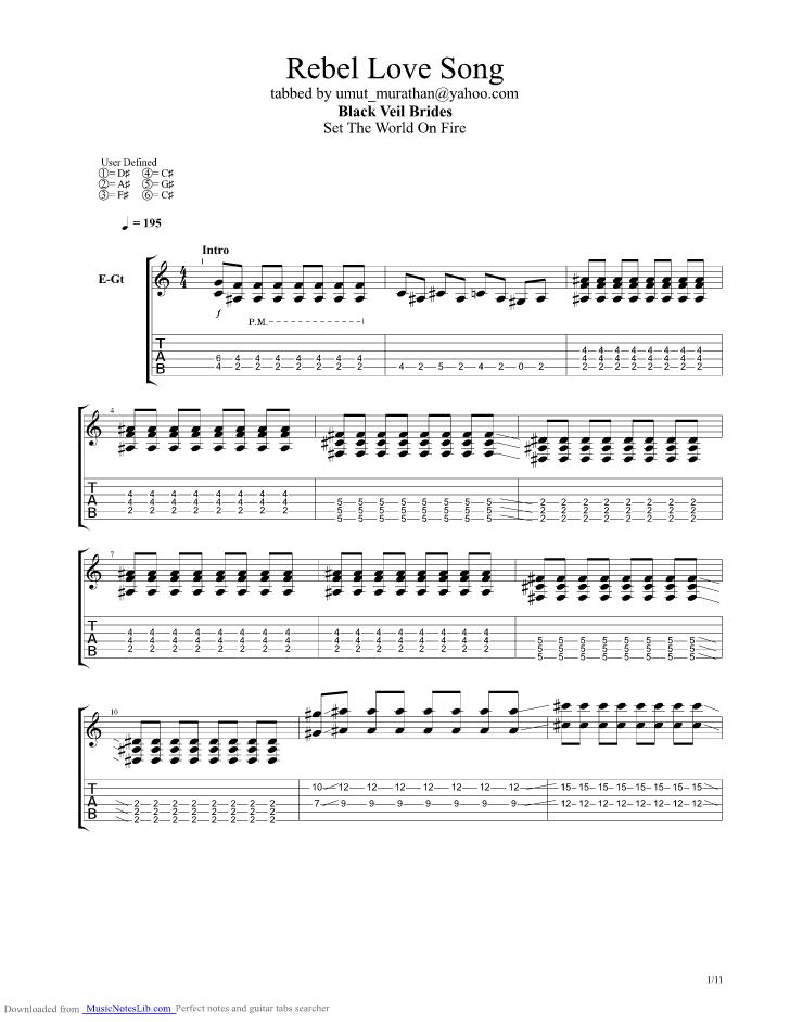 Rebel Love Song Guitar Pro Tab By Black Veil Brides Musicnoteslib