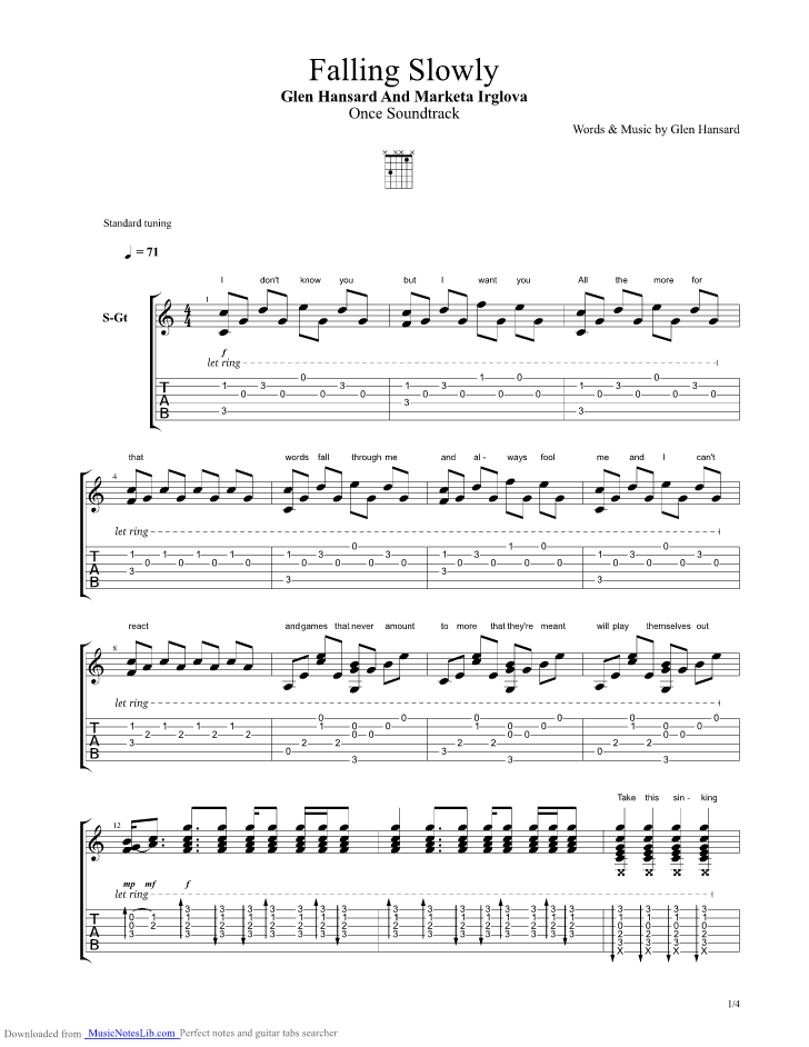 Falling Slowly Guitar Pro Tab By Glen Hansard And Marketa