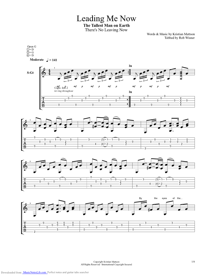Leading Me Now guitar pro tab by The Tallest Man On Earth ...
