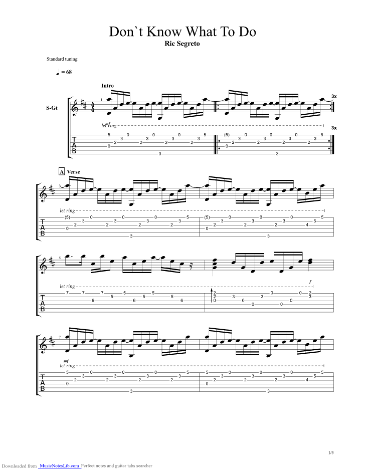 Dont Know What To Do Dont Know What To Say guitar pro tab by Ric ...