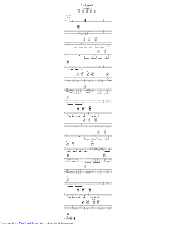 Freedom At 21 Guitar Pro Tab By Jack White Musicnoteslib Com