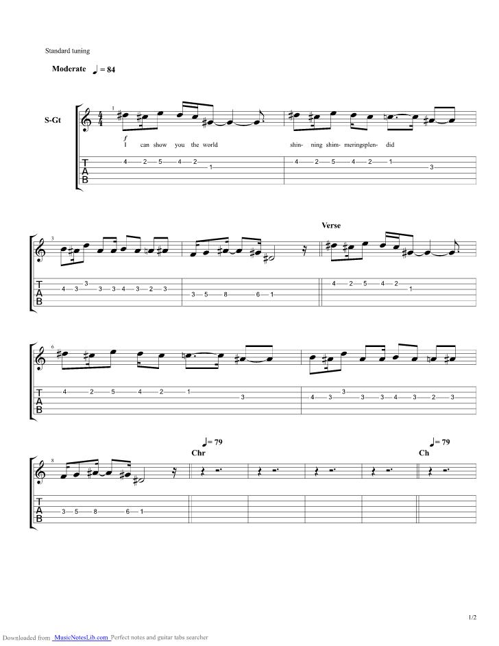 A Whole New World guitar pro tab by Stellar Kart @ musicnoteslib.com