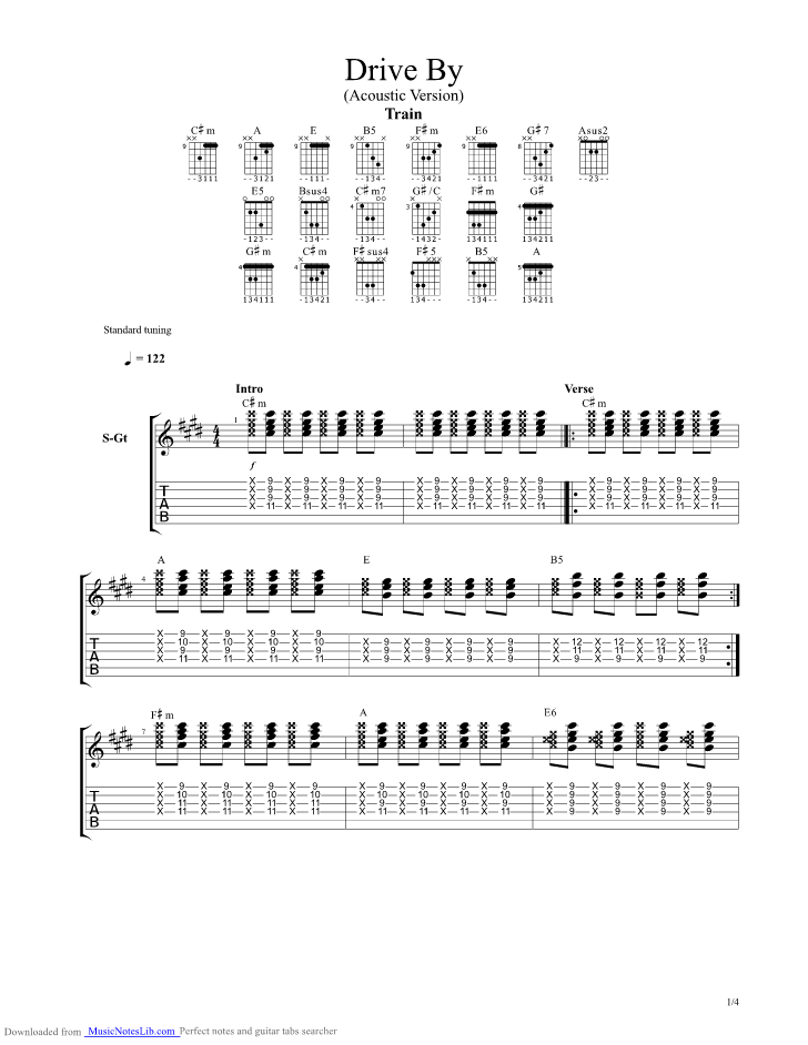 Drive By guitar pro tab by Train @ musicnoteslib.com
