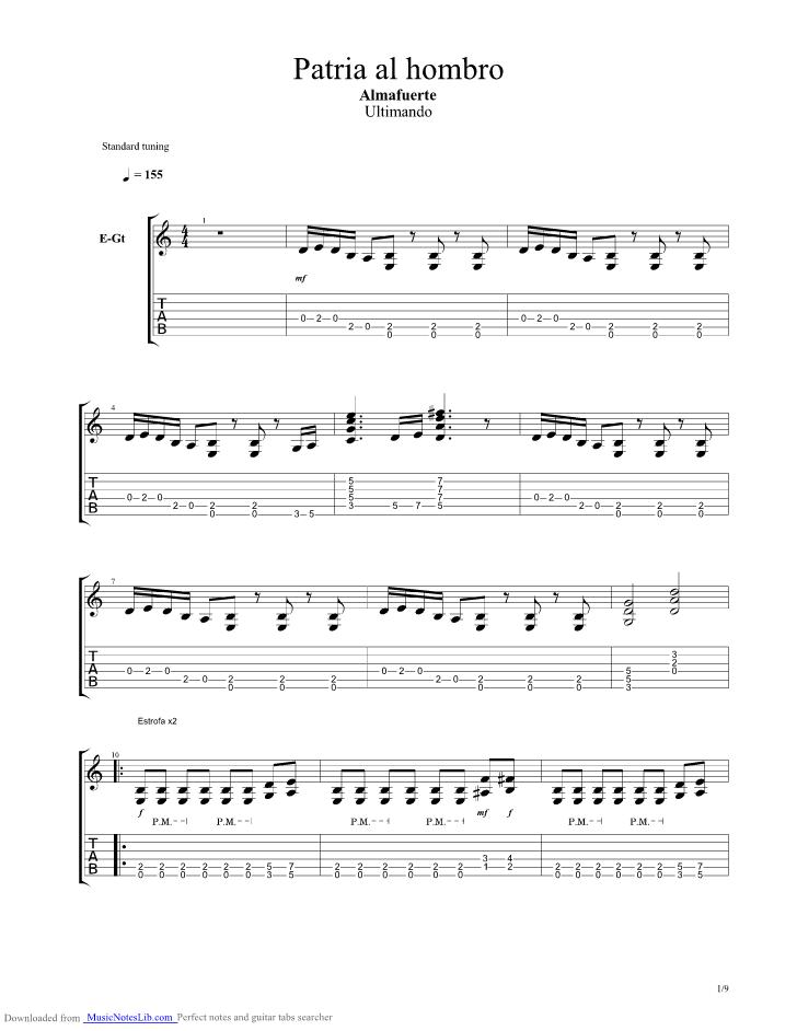 Patria Al Hombro Guitar Pro Tab By Almafuerte Musicnoteslib