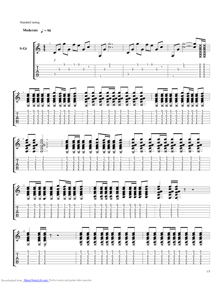 Vulnerable Guitar Pro Tab By Secondhand Serenade Musicnoteslib