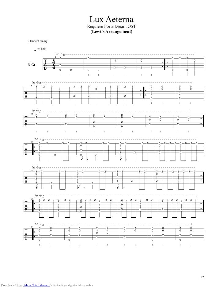 Lux Aeterna guitar pro tab by Clint Mansell @ musicnoteslib.com
