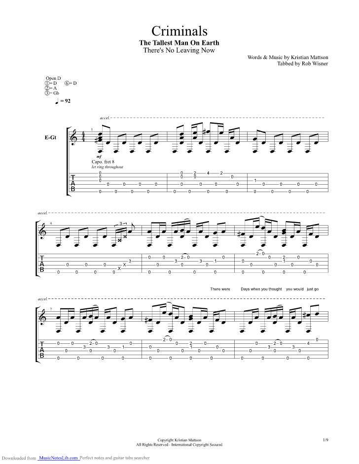 Criminals Guitar Pro Tab By The Tallest Man On Earth