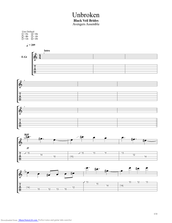 Unbroken Guitar Pro Tab By Black