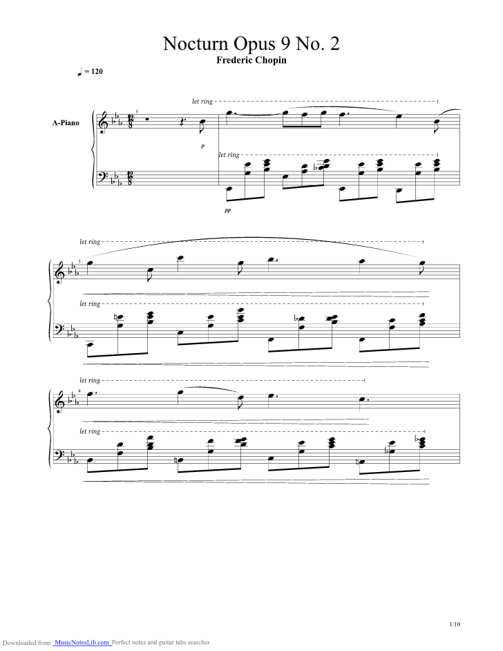Nocturne Op 9 No 2 Guitar Pro Tab By Frederic Chopin Musicnoteslib