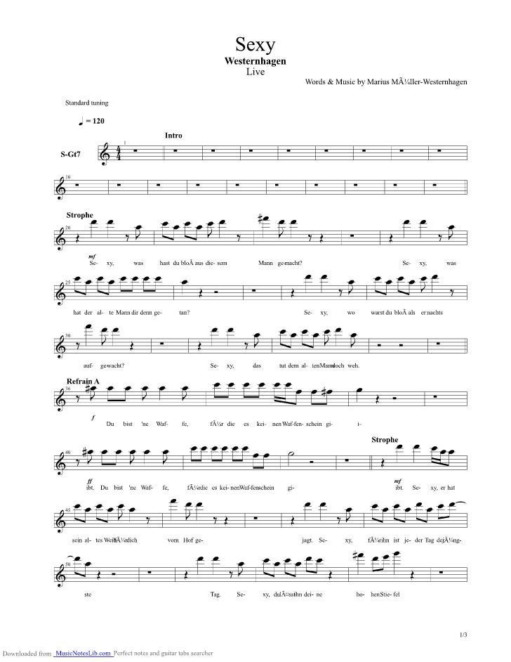 Sexy Guitar Pro Tab By Marius Mueller Westernhagen At Musicnoteslibcom