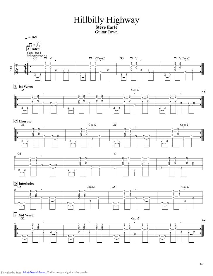 Hillbilly Highway Guitar Pro Tab By Steve Earle Musicnoteslib