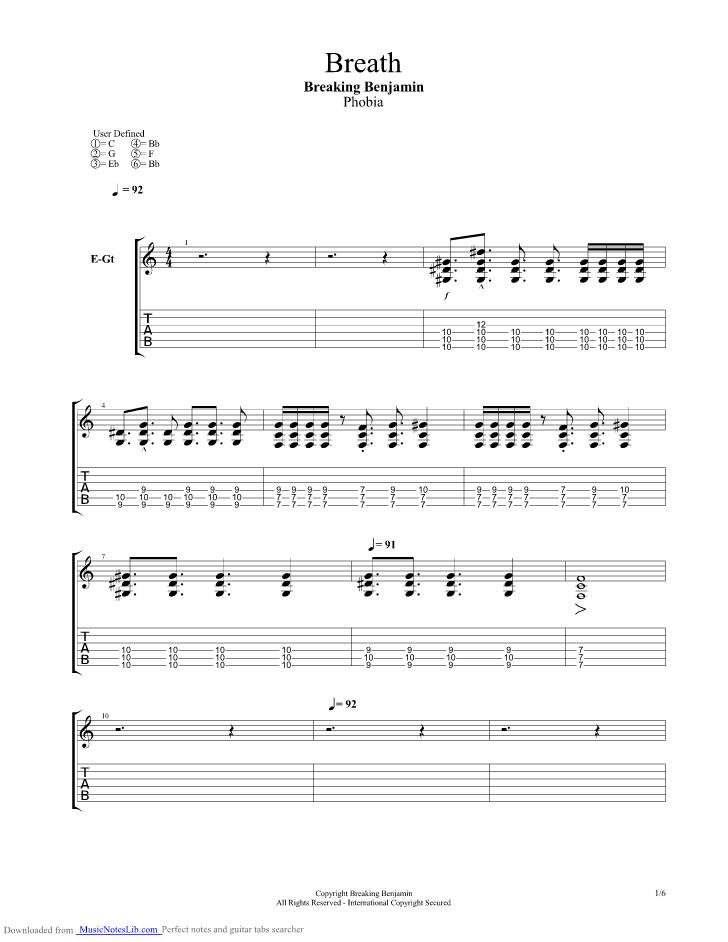 Breath Guitar Pro Tab By Breaking Benjamin Musicnoteslib Com