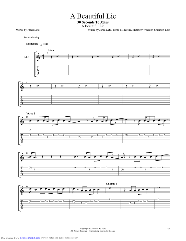 A Beautiful Lie Guitar Pro Tab By 30 Seconds To Mars Musicnoteslib