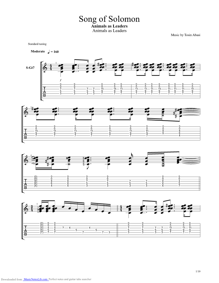 Song Of Solomon Guitar Pro Tab By Animals As Leaders Musicnoteslib Com