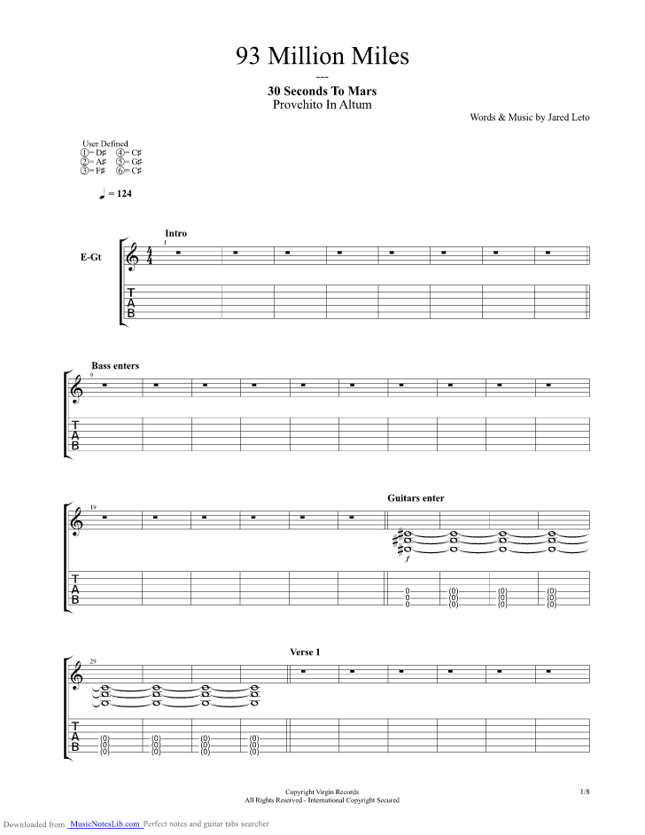 93 Million Miles Guitar Pro Tab By 30 Seconds To Mars