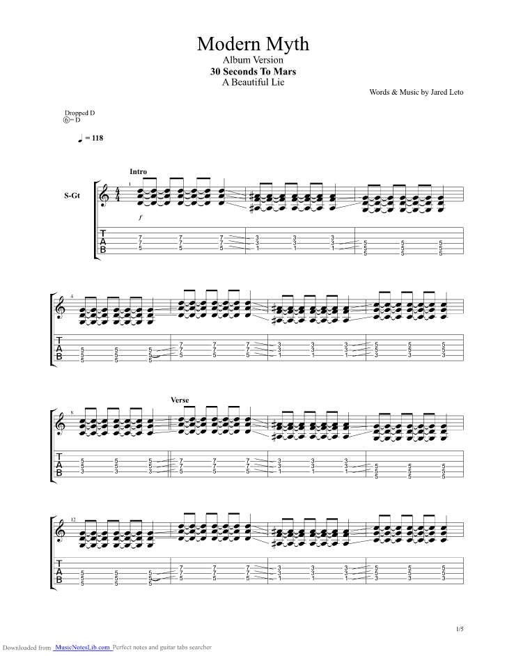 A Modern Myth Guitar Pro Tab By 30 Seconds To Mars Musicnoteslib