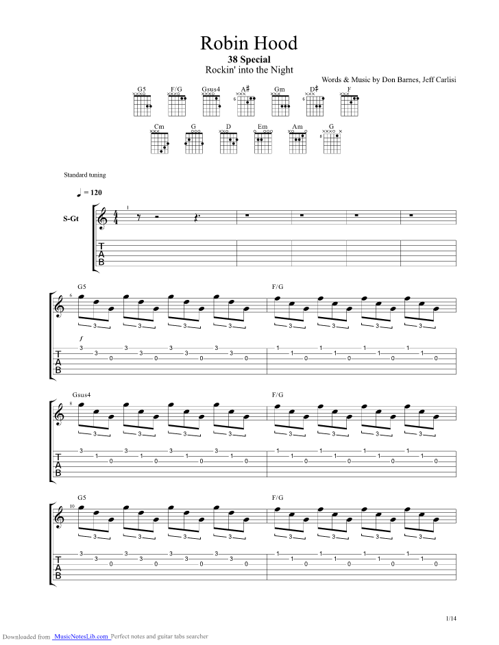 Robin Hood Guitar Pro Tab By 38 Special Musicnoteslib