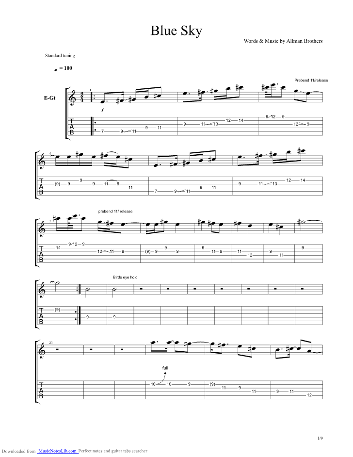 Blue Sky Guitar Pro Tab By Allman Brothers Band Musicnoteslib