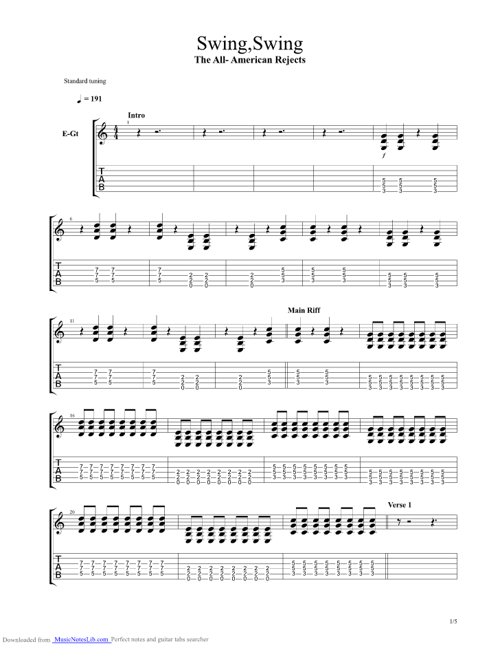 Swing Swing Guitar Pro Tab By All American Rejects Musicnoteslib