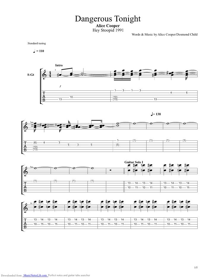 Dangerous Tonight Guitar Pro Tab By Alice Cooper Musicnoteslib