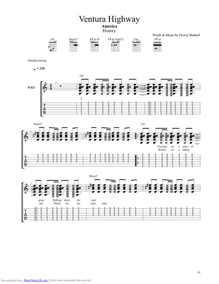 Ventura Highway Guitar Chords Gallery - basic guitar chords finger ...