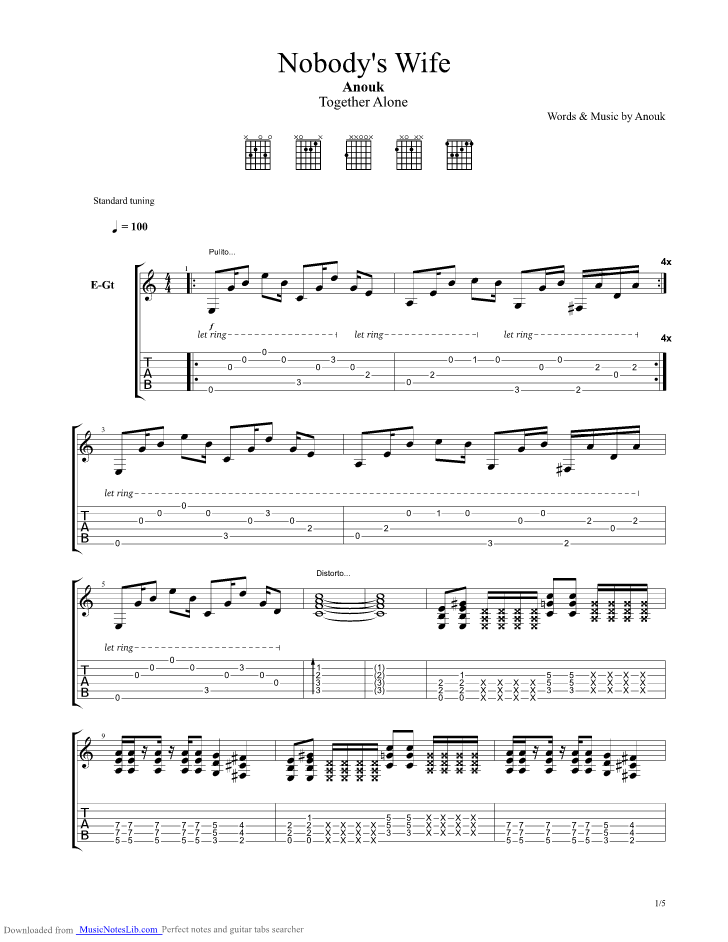 Nobody s Wife guitar pro tab by Anouk @ musicnoteslib.com