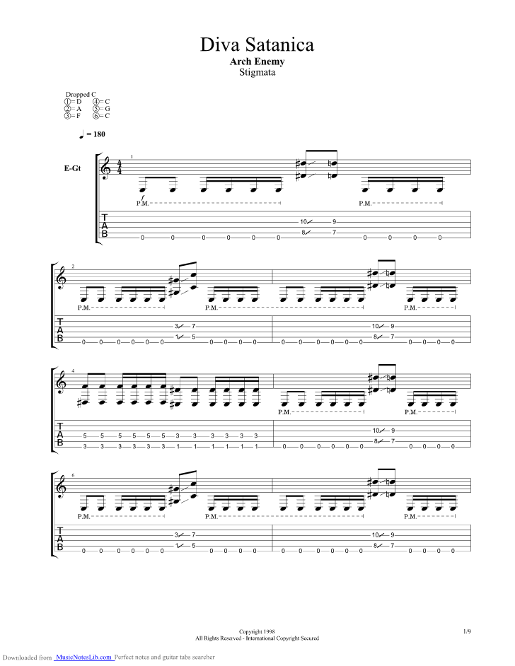 Diva satanica guitar pro tab by arch enemy - Arch enemy diva satanica ...