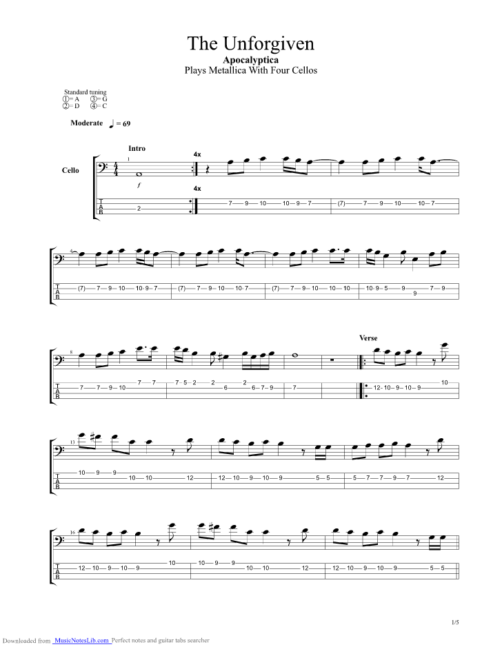 The Unforgiven Guitar Pro Tab By Apocalyptica Musicnoteslib