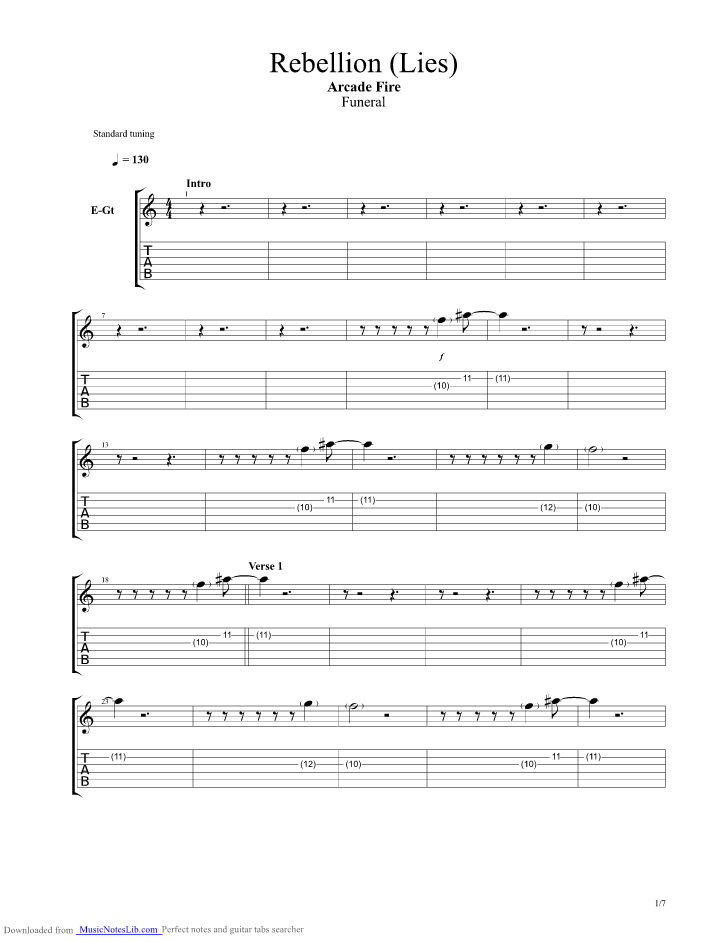 Rebellion Lies guitar pro tab by Arcade Fire @ musicnoteslib.com