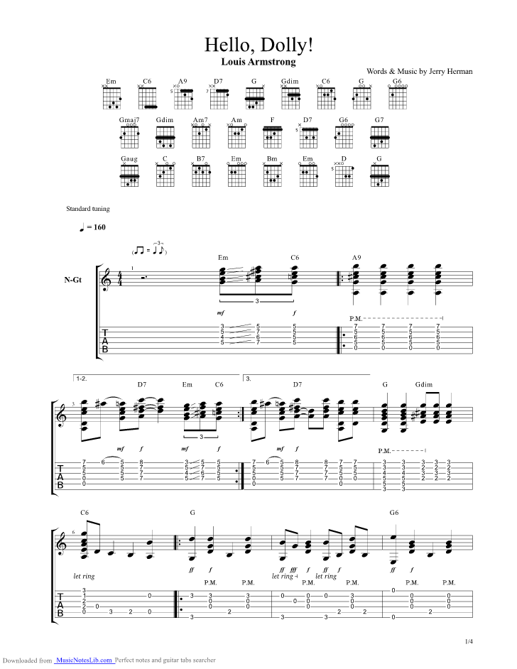 Hello Dolly Guitar Pro Tab By Louis Armstrong Musicnoteslib