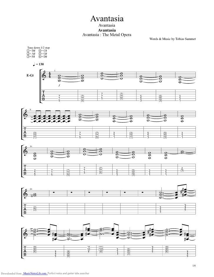 Avantasia guitar pro tab by Avantasia @ musicnoteslib.com
