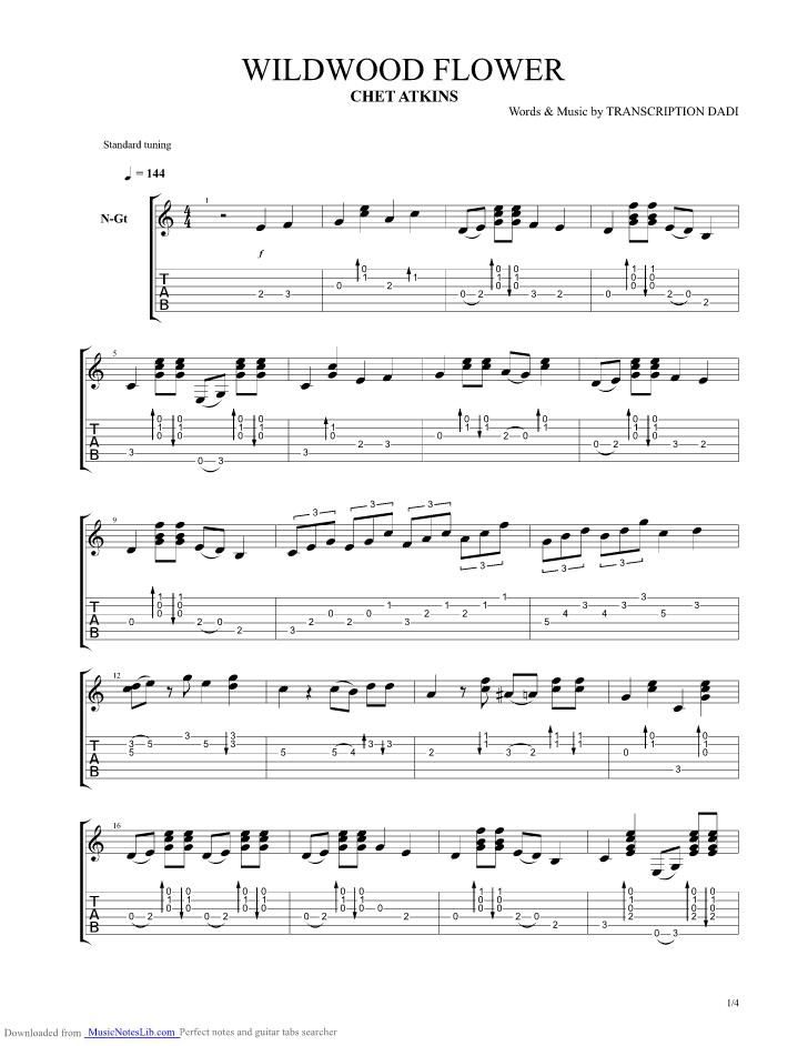 wildwood flower guitar pro tab by Chet Atkins @ musicnoteslib.com
