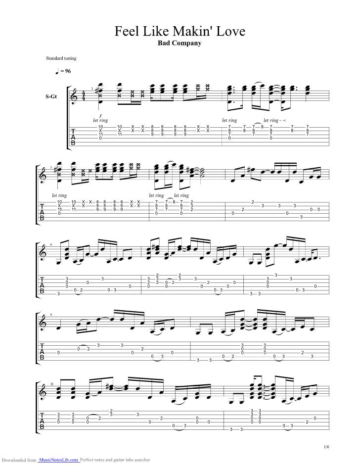 Feel s Like Makin Love guitar pro tab by Bad Company @ musicnoteslib.com