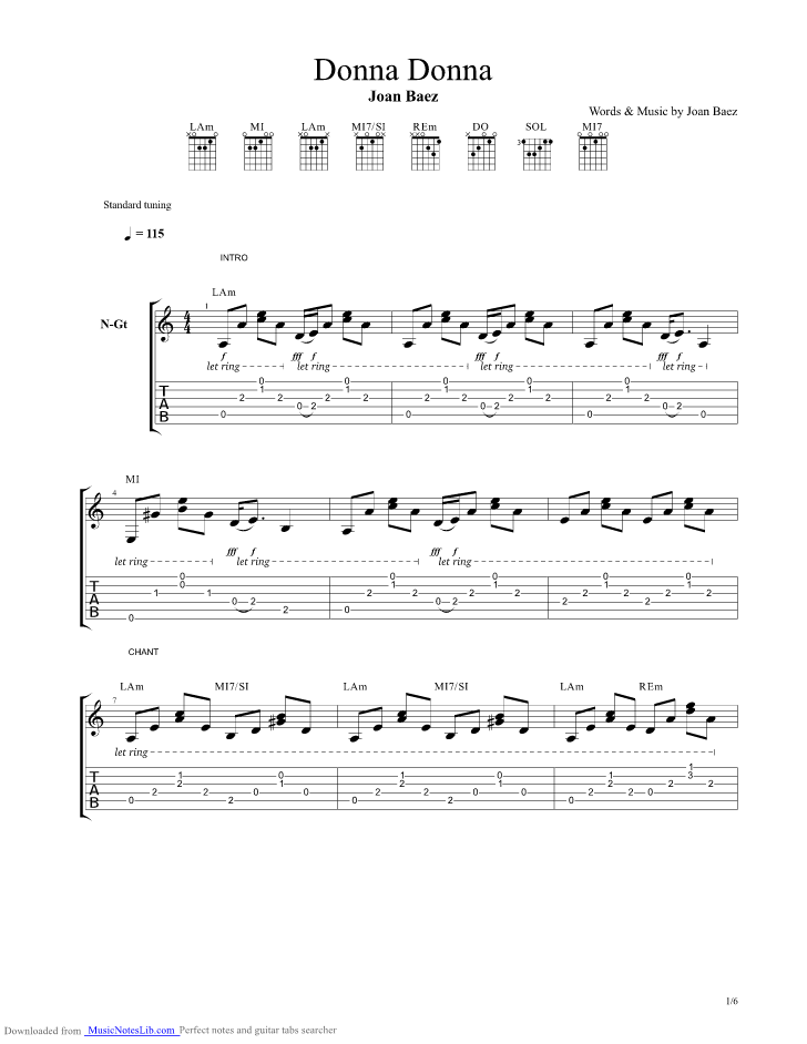 Donna Donna guitar pro tab by Joan Baez @ musicnoteslib.com