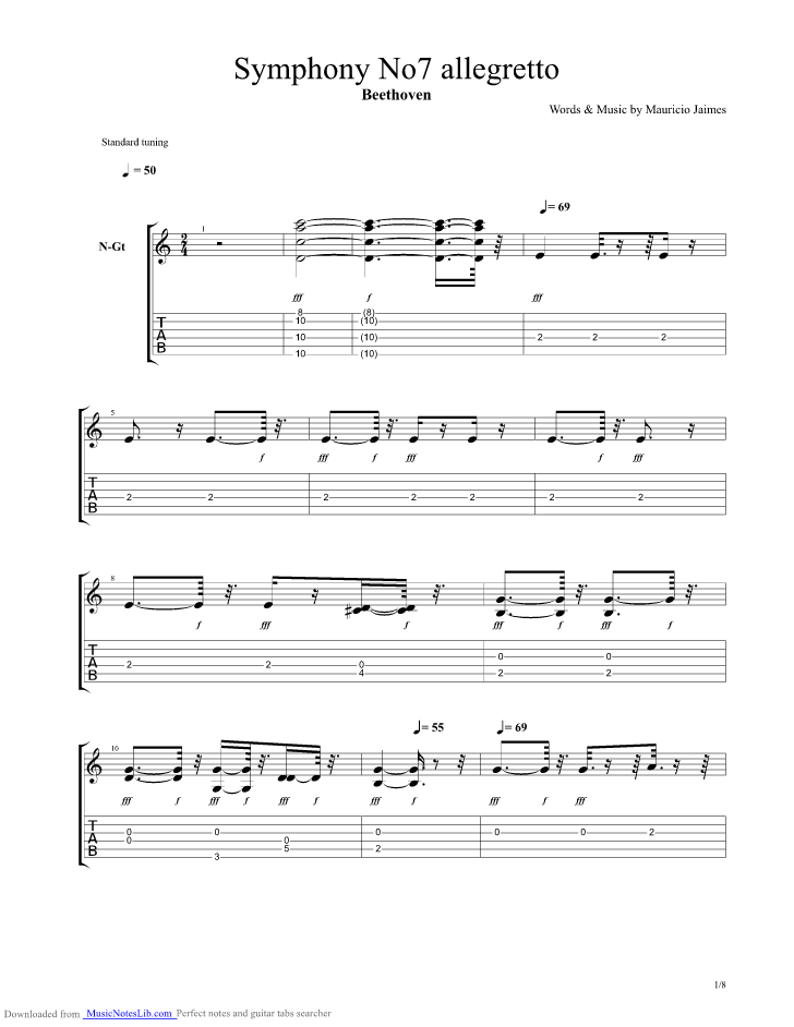 7th Symphony Allegretto guitar pro tab by Beethoven Ludwig
