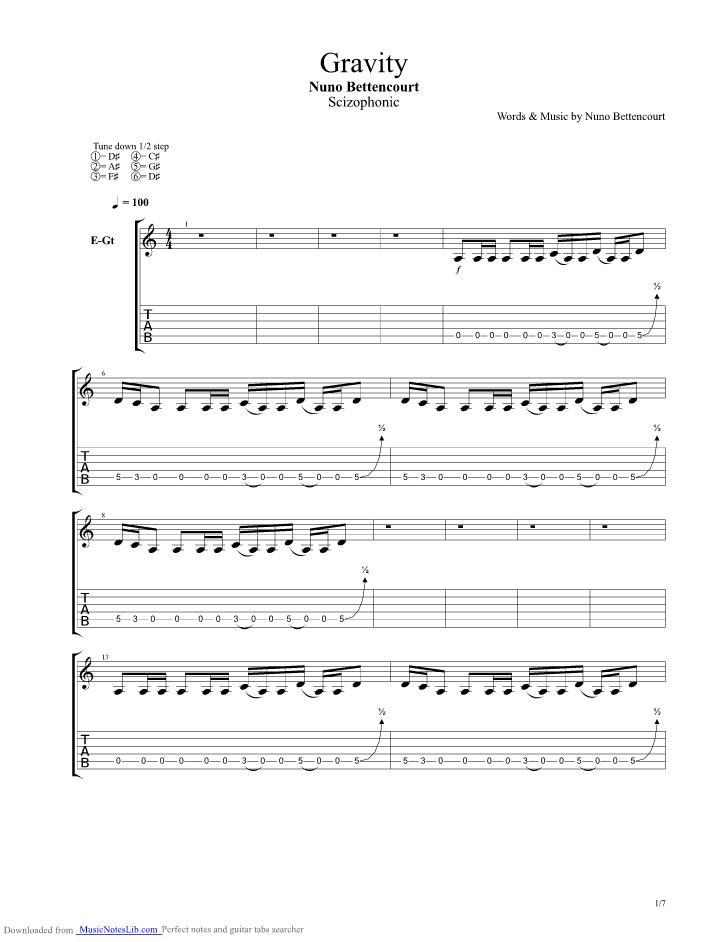 Gravity Guitar Pro Tab By Nuno Bettencourt Musicnoteslib