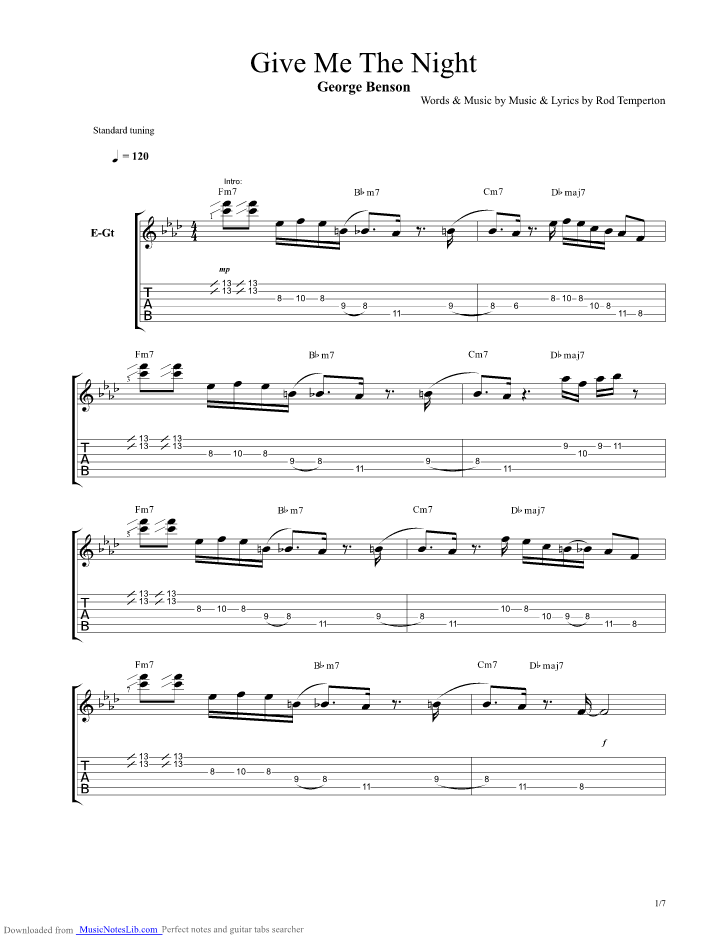 Give Me The Night Guitar Pro Tab By George Benson Musicnoteslib