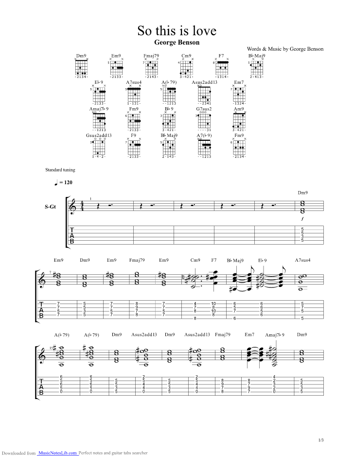 So This Is Love Guitar Pro Tab By George Benson Musicnoteslib