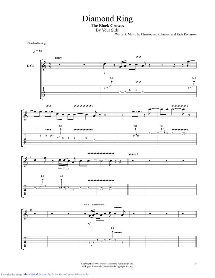 Diamond Ring Guitar Pro Tab By Black Crowes Musicnoteslib
