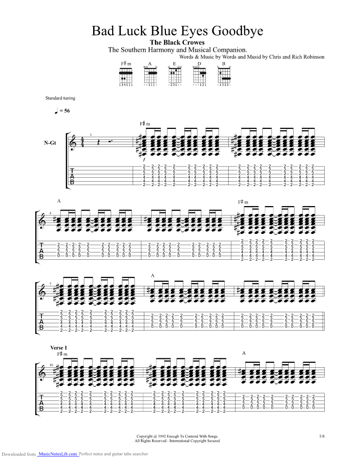 Bad Luck Blue Eyes Goodbye Guitar Pro Tab By Black Crowes