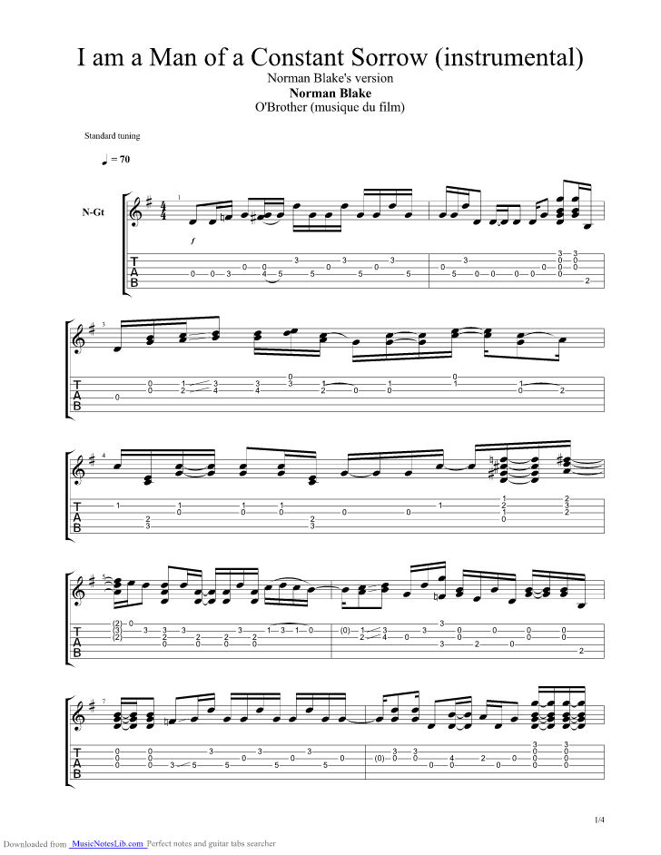 I Am A Man Of A Constant Sorrow Instrumental guitar pro tab by ...