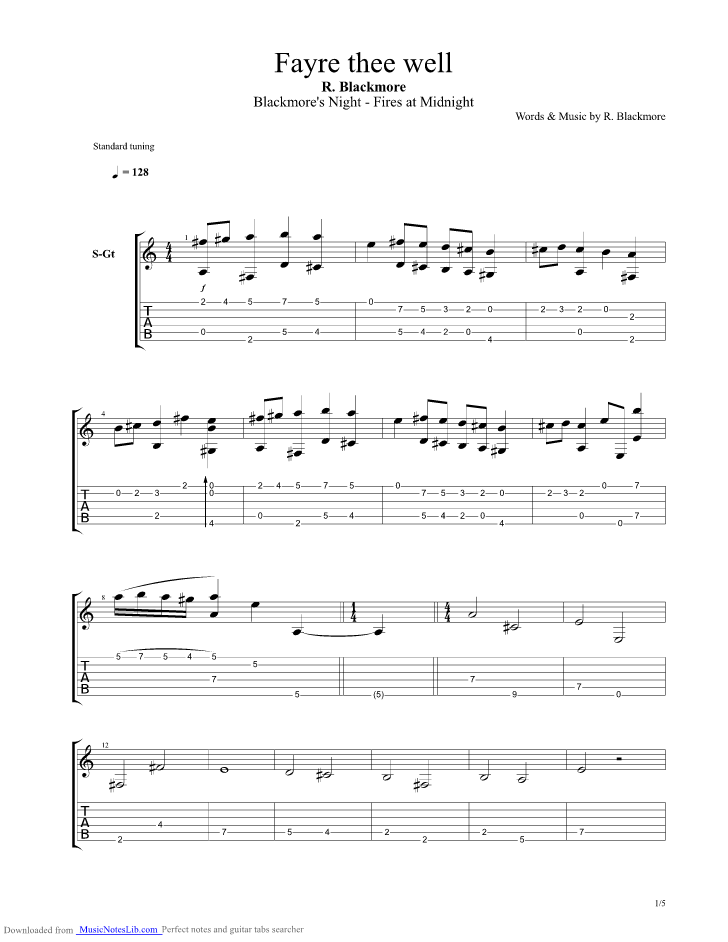 Fayre Thee Well Guitar Pro Tab By Blackmores Night Musicnoteslib