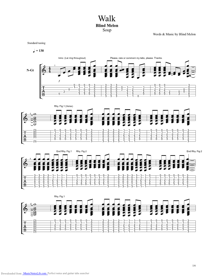 Walk guitar pro tab by Blind Melon @ musicnoteslib.com
