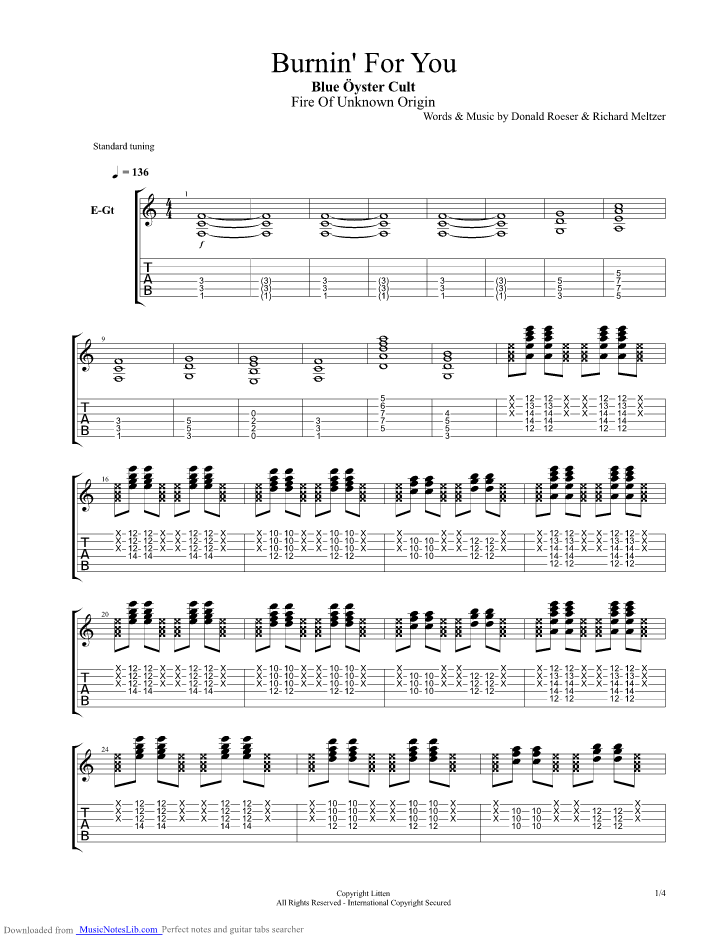Burnin For You Guitar Pro Tab By Blue Oyster Cult Musicnoteslib