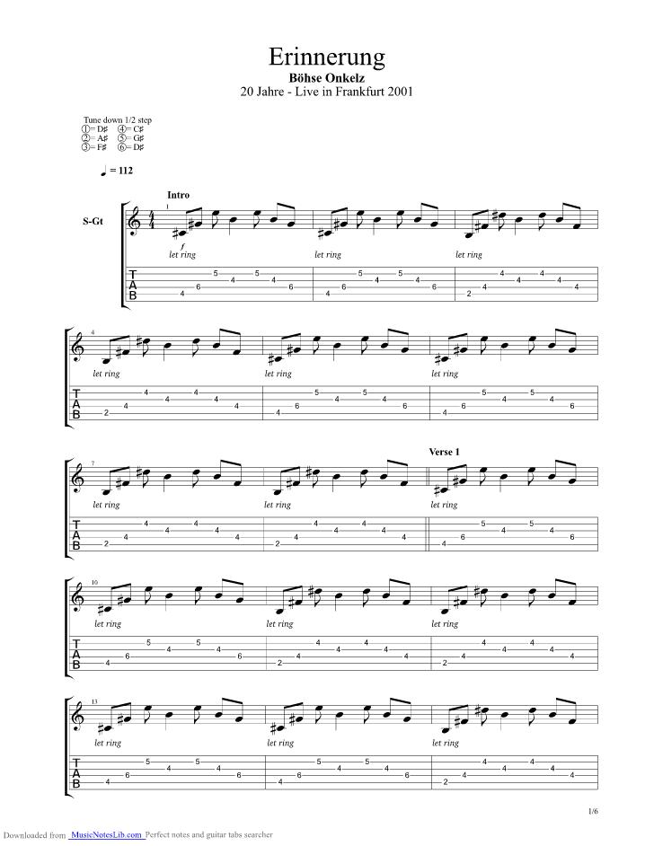Erinnerung guitar pro tab by Boehse Onkelz @ musicnoteslib.com