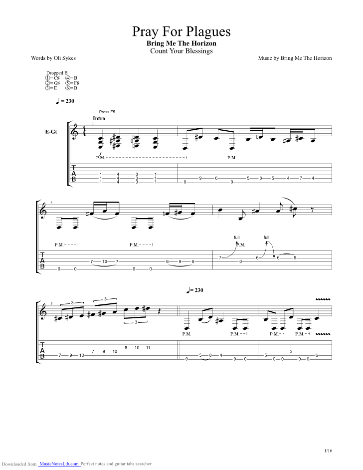Pray For Plagues guitar pro tab by Bring Me The Horizon ...