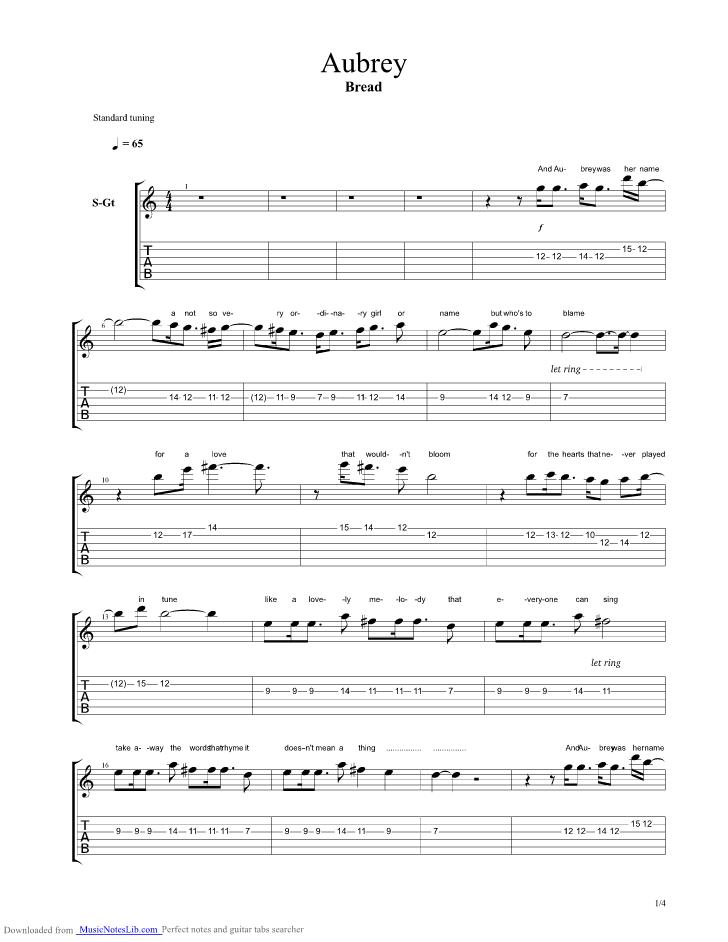 Aubrey Guitar Pro Tab By Bread Musicnoteslib