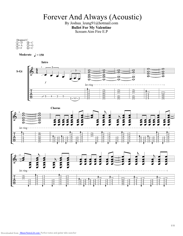 Forever And Always Acoustic guitar pro tab by Bullet For My ...