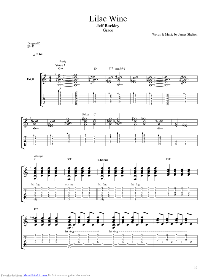 Lilac Wine Guitar Pro Tab By Jeff Buckley Musicnoteslib